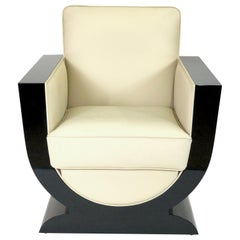U-Shaped Black and White Art Deco Style Club Chair with Black Piano Lacquer