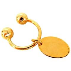 U-Shaped Horseshoe Screw Ball Key Chain and Tag 14 Karat Gold