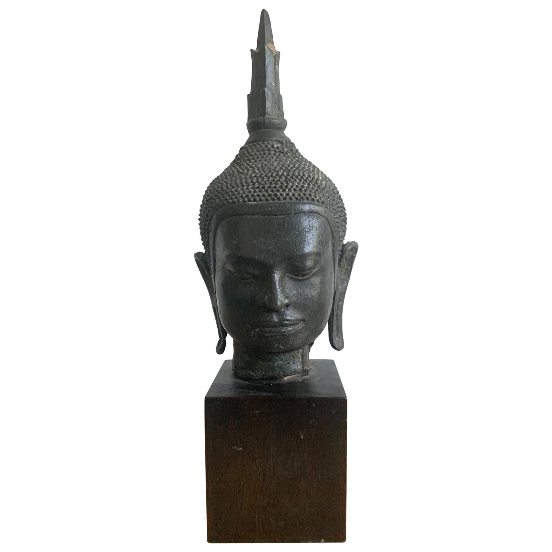 U Thong Bronze Buddha Head Southeast Asia