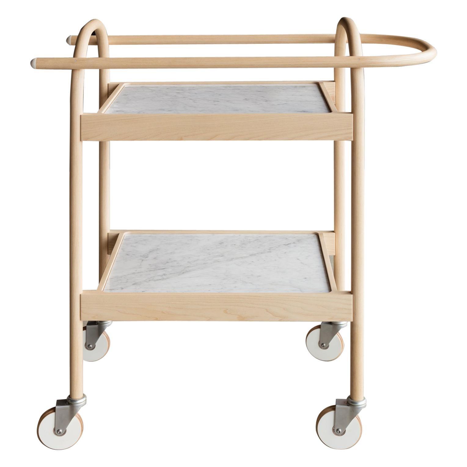 U3 Serving Trolley/ Bar Cart in Solid Wood and Carrara Marble by Bowen Liu