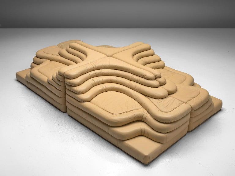 Post-Modern Ubald Klug Set of Four Sand Color 'Landscapes' by De Sede For Sale