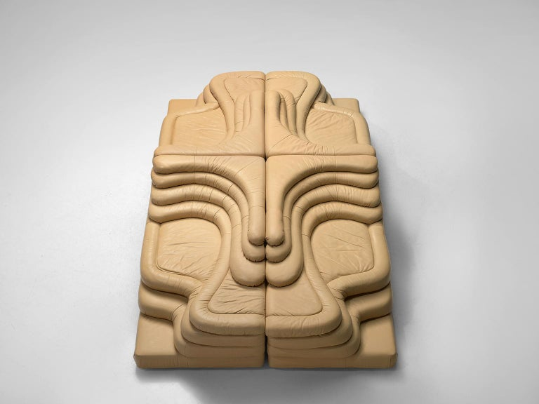 Late 20th Century Ubald Klug Set of Four Sand Color 'Landscapes' by De Sede For Sale