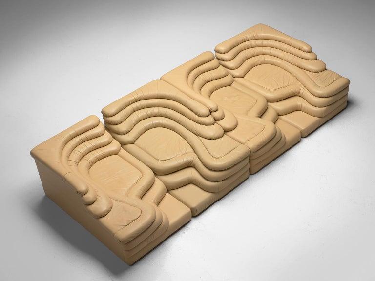 Leather Ubald Klug Set of Four Sand Color 'Landscapes' by De Sede For Sale