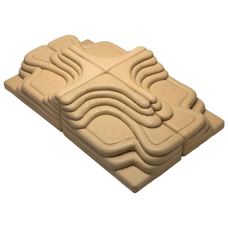 Ubald Klug Set of Four Sand Color 'Landscapes' by De Sede For Sale