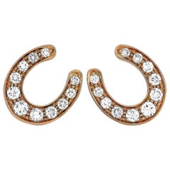 Ubaldi 18 Karat Rose Gold 0.60 Carat Diamond Horseshoe Earrings