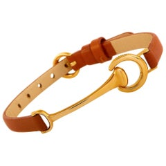 Ubaldi 18 Karat Rose Gold Red Leather Horsebit Bracelet