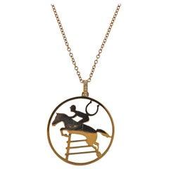 Ubaldi Diamond Rose Gold Jockey Equestrian Horse Pendant Necklace
