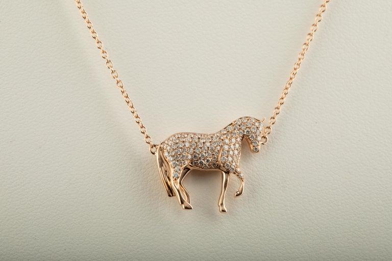 Artisan Ubaldi Equestrian Jewelry Horse Diamonds Pave Pendant Rolo 18kt Rose Gold Chain For Sale