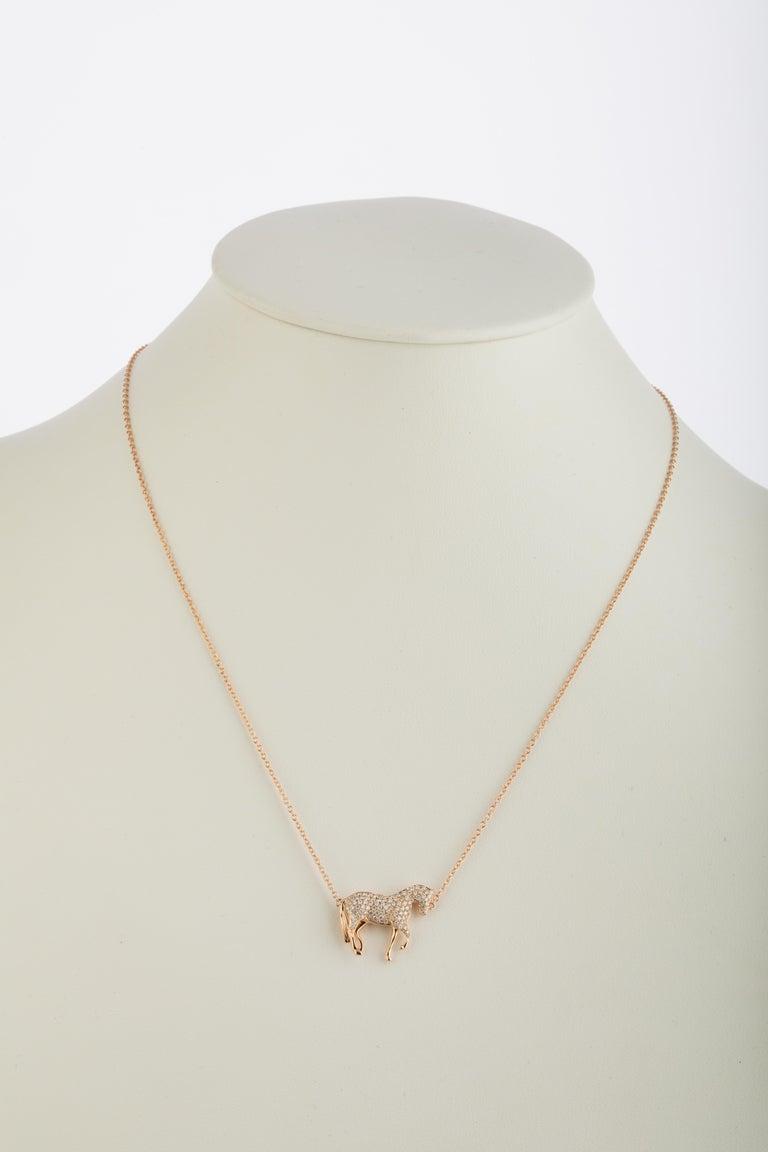 Brilliant Cut Ubaldi Equestrian Jewelry Horse Diamonds Pave Pendant Rolo 18kt Rose Gold Chain For Sale