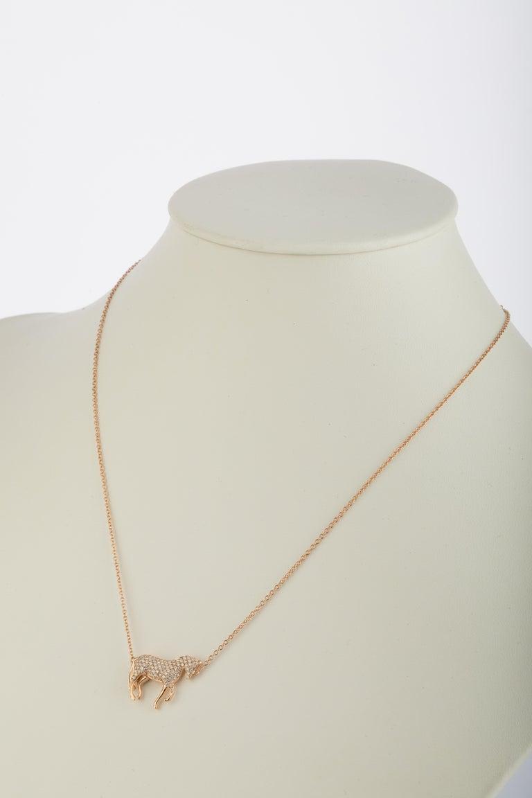Ubaldi Equestrian Jewelry Horse Diamonds Pave Pendant Rolo 18kt Rose Gold Chain In New Condition For Sale In Mestre Venezia, IT