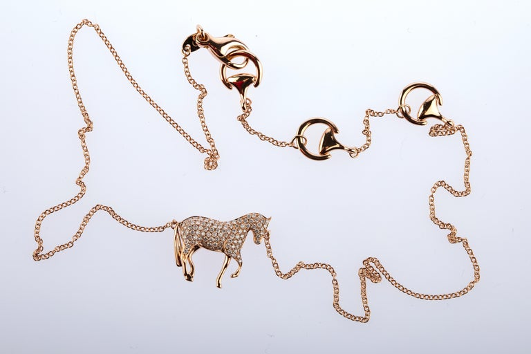 Women's or Men's Ubaldi Equestrian Jewelry Horse Diamonds Pave Pendant Rolo 18kt Rose Gold Chain For Sale