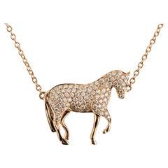 Ubaldi Equestrian Jewelry Horse Diamonds Pave Pendant Rolo 18kt Rose Gold Chain