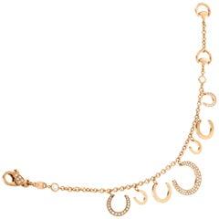 Ubaldi Gioielli 18 Karat Gold Bracelet Horseshoes Charm Pendants with Diamonds
