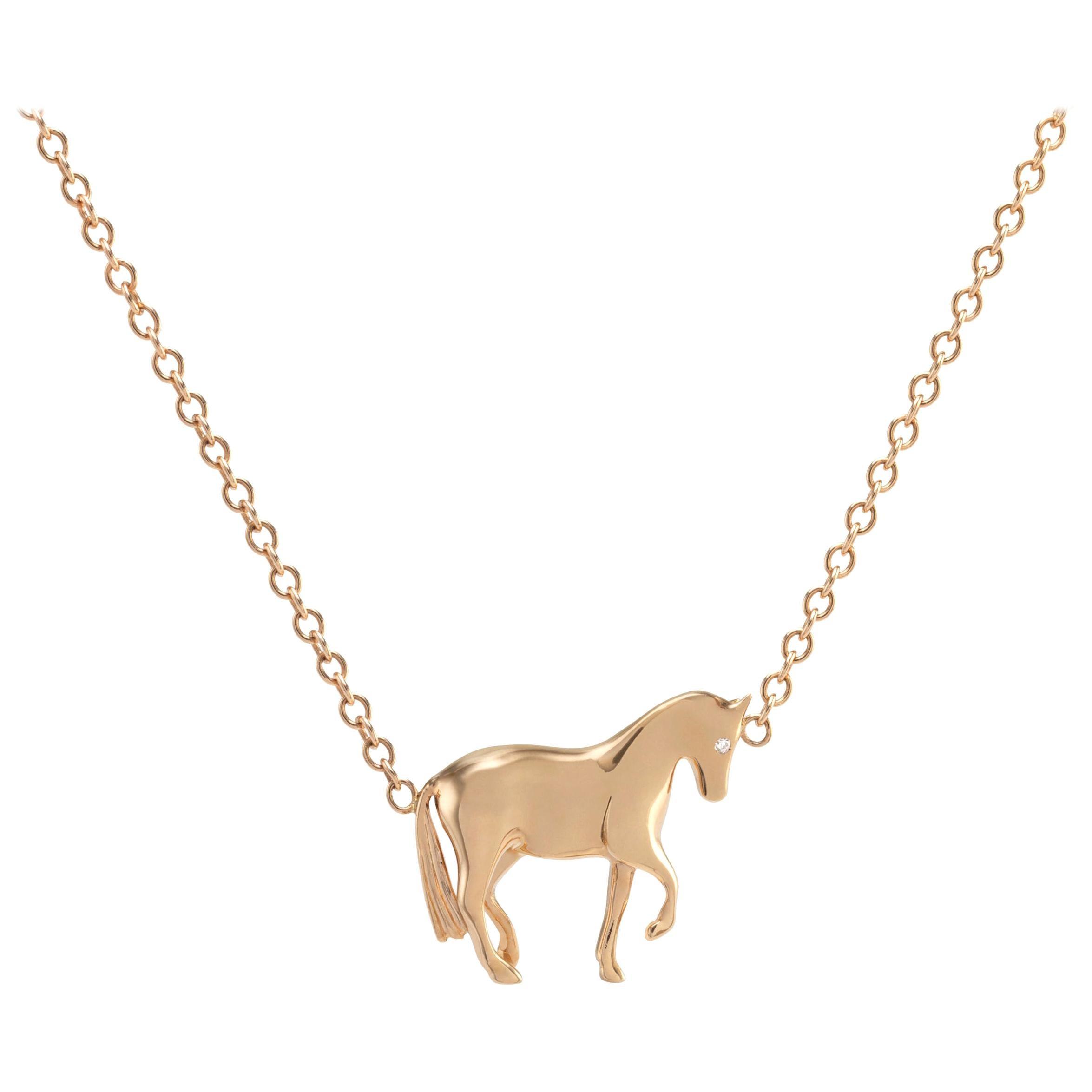 Ubaldi Gioielli 18 Karat Gold Equestrian Horse Necklace Pendant Diamond
