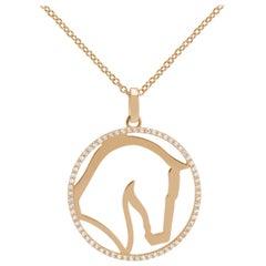 Ubaldi Gioielli 18 Karat Gold Equestrian Horse Pendant Diamonds
