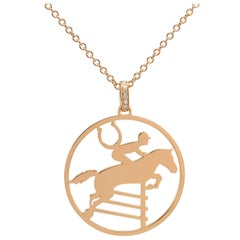 Ubaldi Gioielli 18 Karat Gold Equestrian Horse Showjumping Pendant Diamond