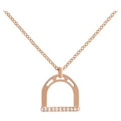 Ubaldi Gioielli 18 Karat Gold Equestrian Stirrup Pendant Diamonds