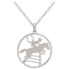 Ubaldi Gioielli 18 Karat WG Gold Equestrian Horse Showjumping Pendant Diamond