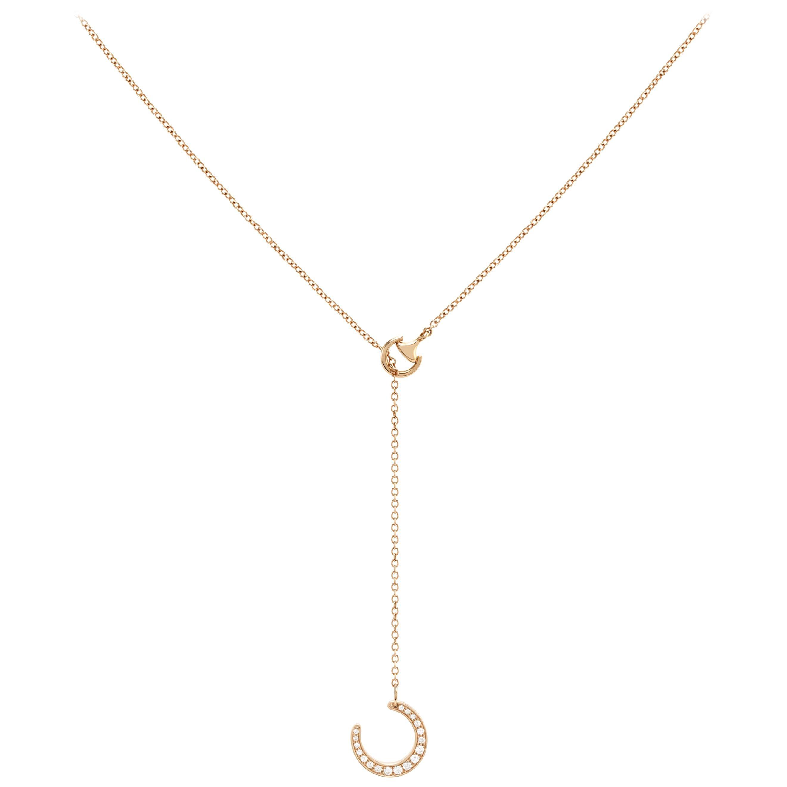 Ubaldi Gioielli 18 Kt Gold Equestrian Horseshoe Necklace Pendant Diamonds Pave