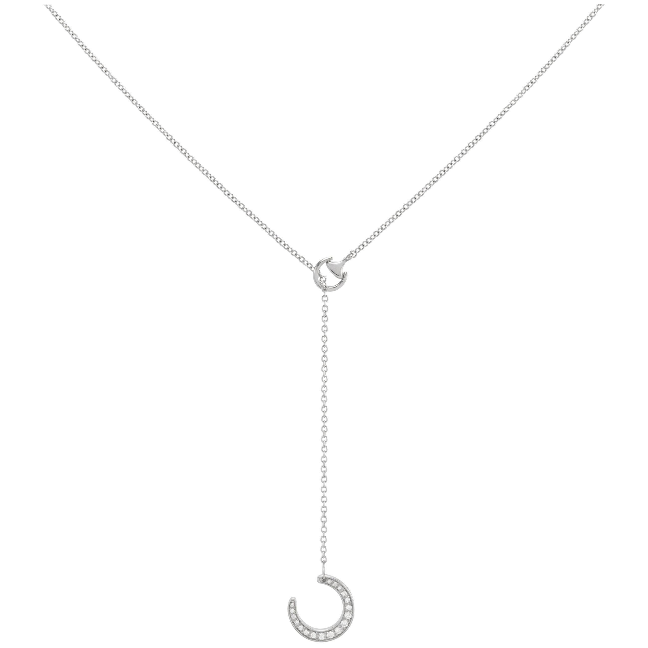 Ubaldi Gioielli 18k w- Gold Equestrian Horseshoe Necklace Pendant Diamonds Pave