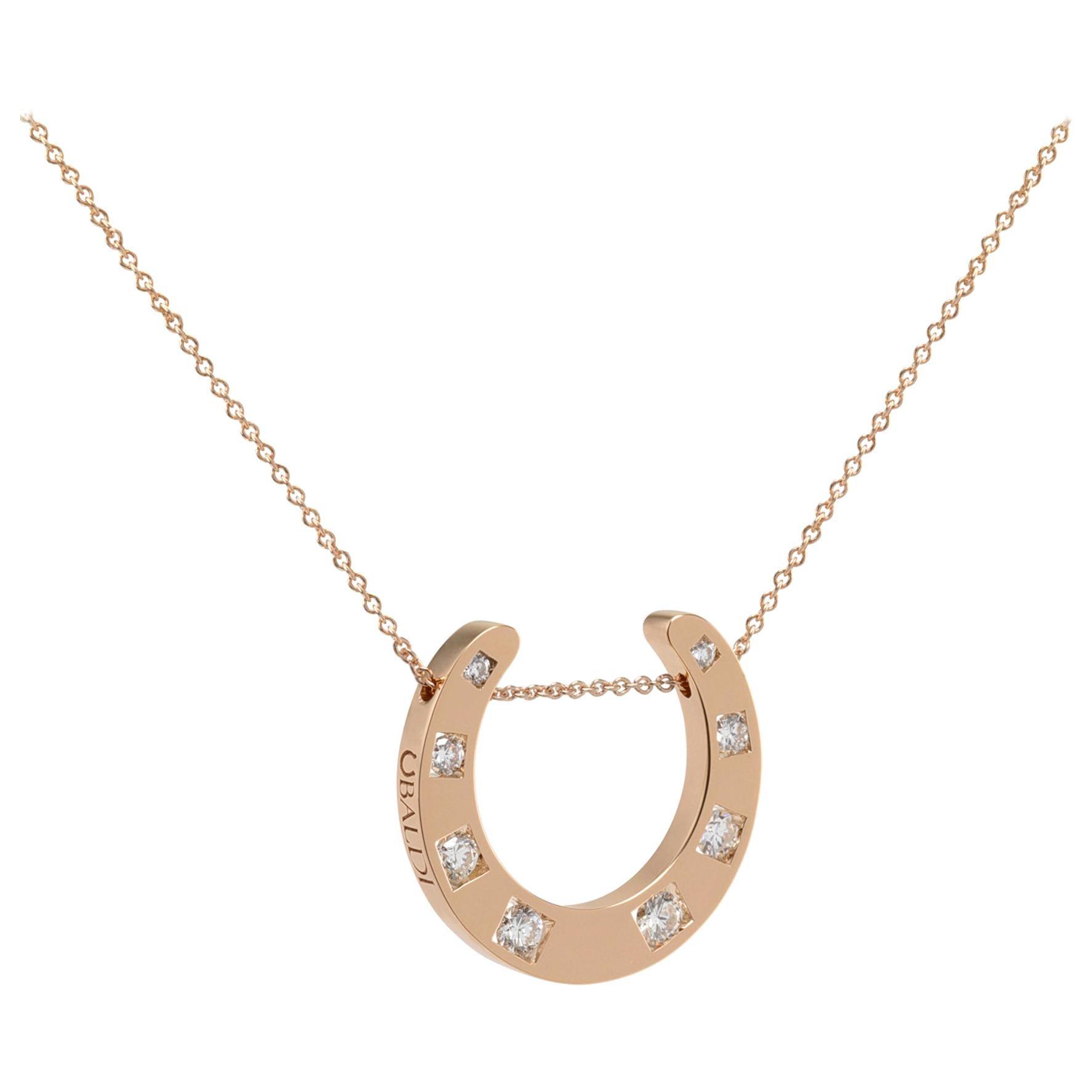 Ubaldi Gioielli 18kt Gold Equestrian Horseshoe Necklace Pendant Eight Diamonds