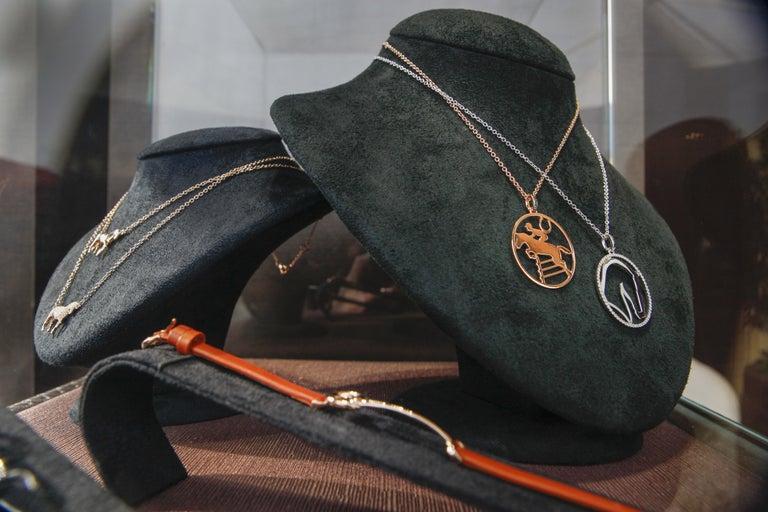 Brilliant Cut Ubaldi Gioielli 18kt WG Gold Equestrian Horse Showjumping Pendant Diamond For Sale