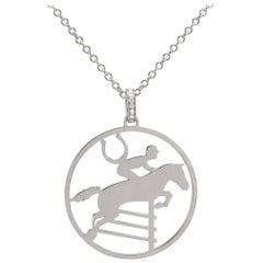 Ubaldi Gioielli 18kt WG Gold Equestrian Horse Showjumping Pendant Diamond
