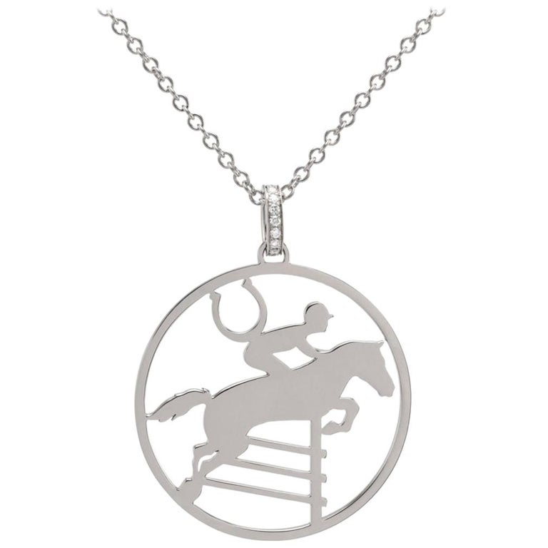 Ubaldi Gioielli 18kt WG Gold Equestrian Horse Showjumping Pendant Diamond For Sale