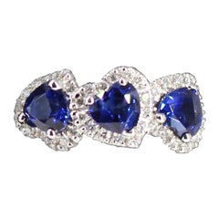 Ubaldi Gioielli Ring, Diamond and Three-Stone Sapphire Heart Shape 18 Karat Gold