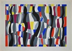 Colored Composition - Original Screen Print by Uberto Maria Casotti - 1971