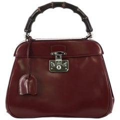 ucci Lady Lock Bamboo Top Handle Bag Leather Medium
