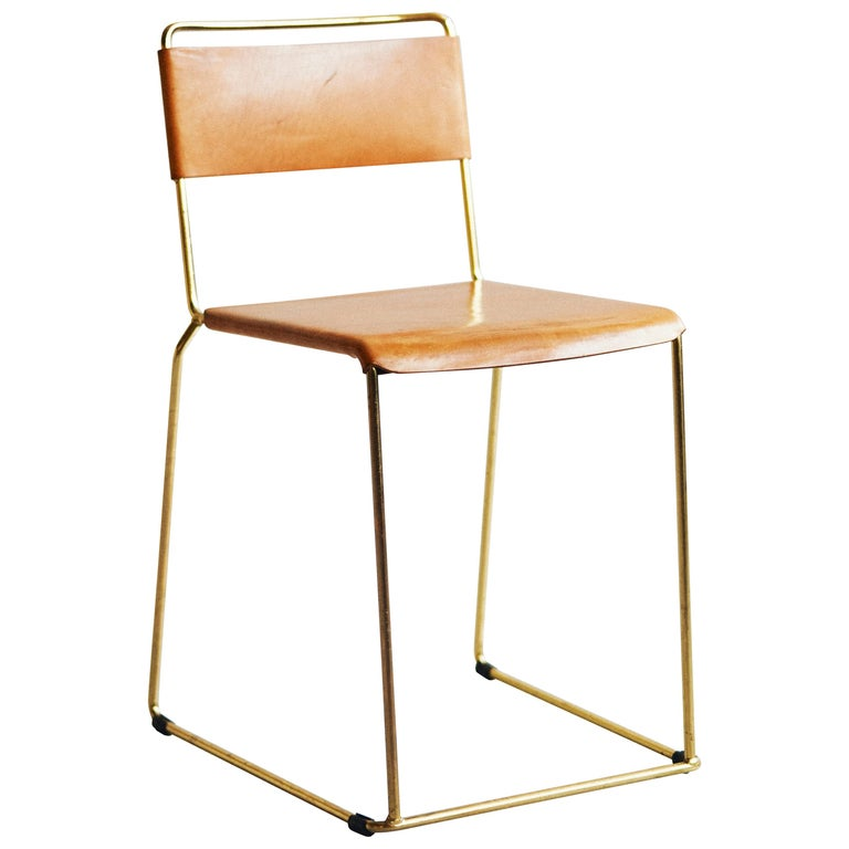 UCCIO Chair Brass and Leather For Sale