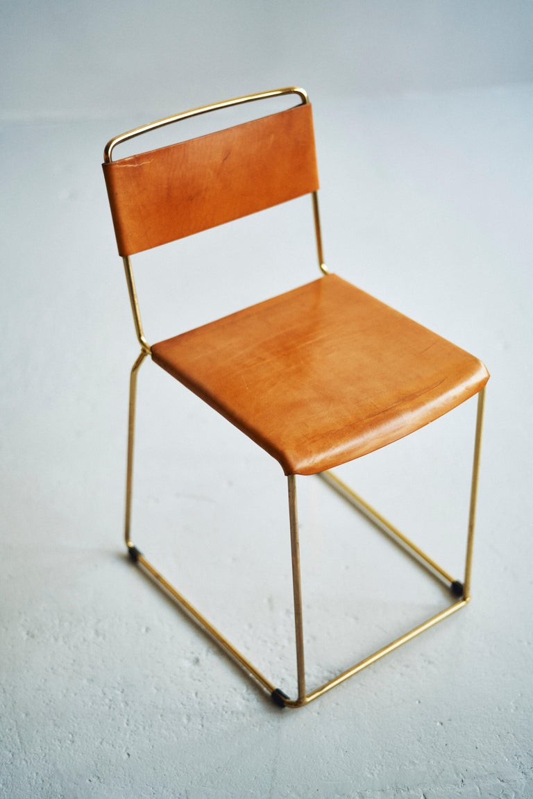 Modern UCCIO Chair Brass and Leather For Sale