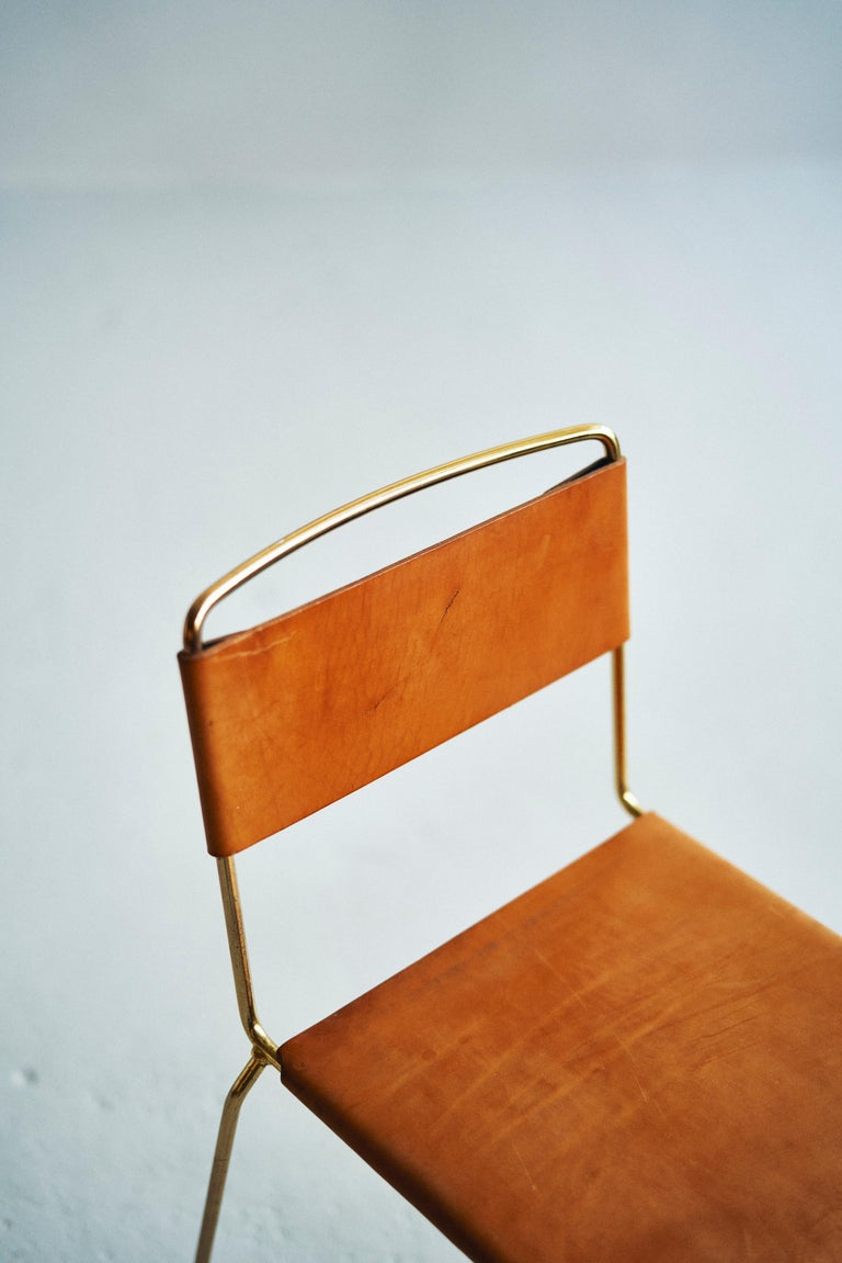 Australian UCCIO Chair Brass and Leather For Sale
