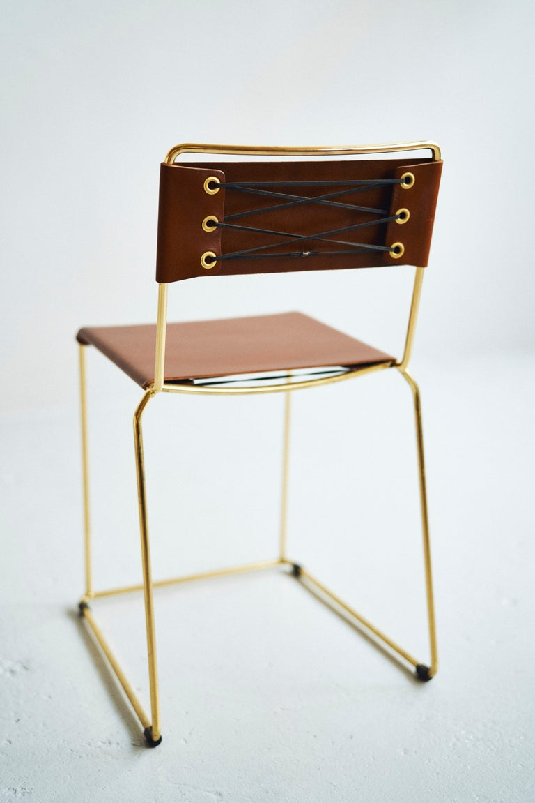 UCCIO Chair Brass and Leather In New Condition For Sale In Melbourne, Victoria