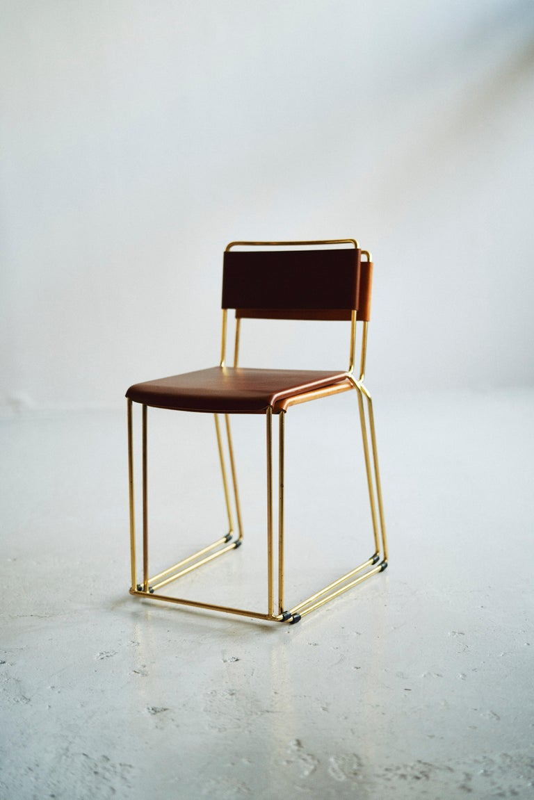 Contemporary UCCIO Chair Brass and Leather For Sale