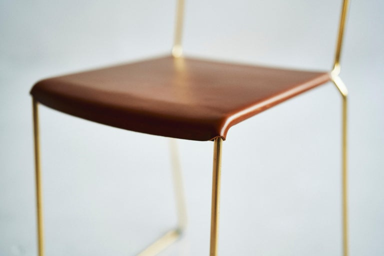 UCCIO Chair Brass and Leather For Sale 2