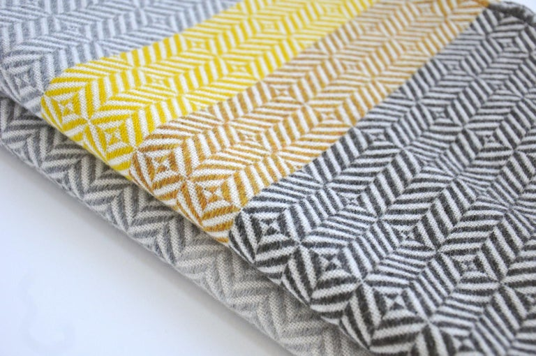 British 'Uccle' Block Geometric Woven Merino Wool Throw, Piccalilli Yellow/Greys For Sale