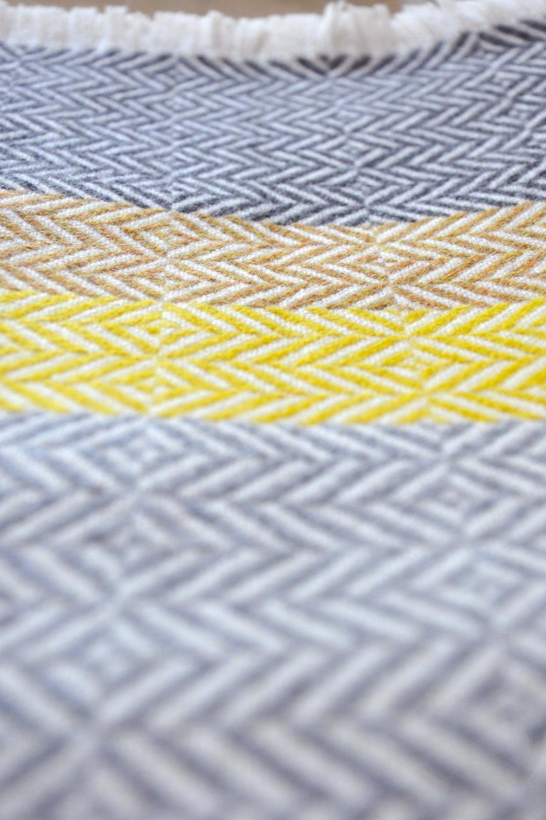 'Uccle' Block Geometric Woven Merino Wool Throw, Piccalilli Yellow/Greys In New Condition For Sale In Chelmsford, GB