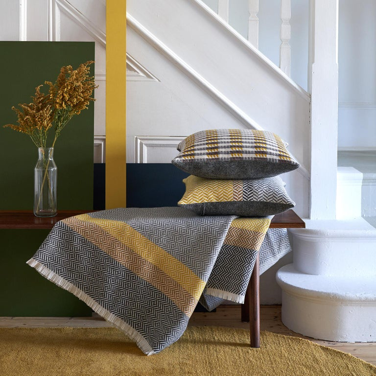 'Uccle' Block Geometric Woven Merino Wool Throw, Piccalilli Yellow/Greys For Sale 1