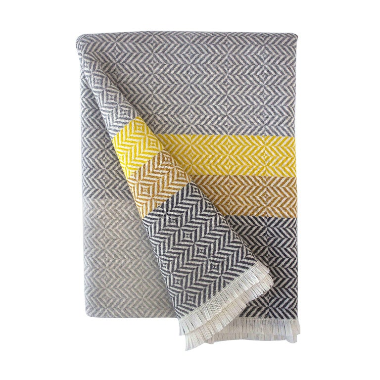 'Uccle' Block Geometric Woven Merino Wool Throw, Piccalilli Yellow/Greys For Sale
