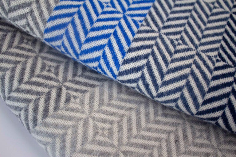Mid-Century Modern 'Uccle' Woven Block Geometric Merino Wool Throw, Indigo/Colbalt Blue/Greys For Sale