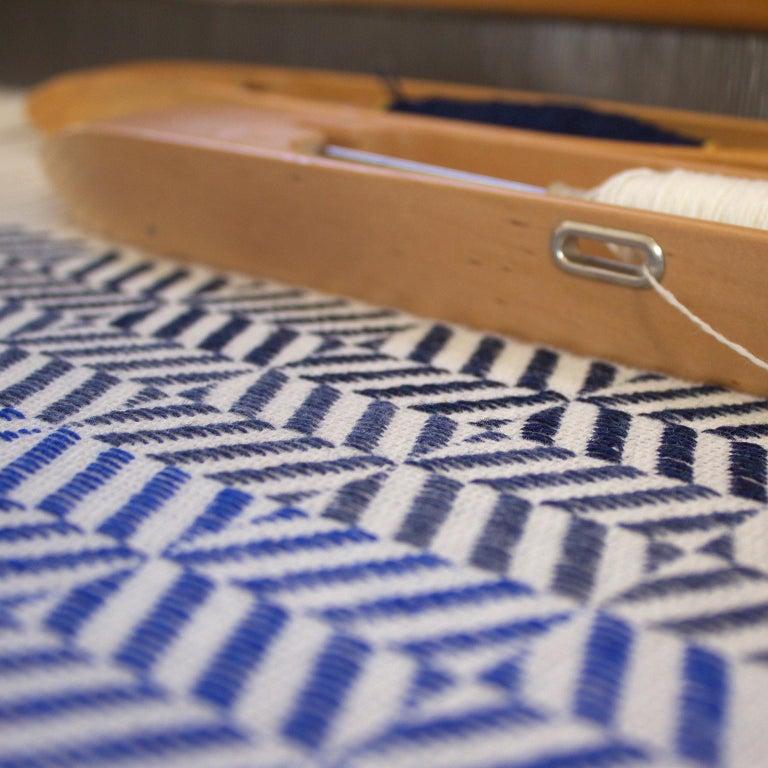 British 'Uccle' Woven Block Geometric Merino Wool Throw, Indigo/Colbalt Blue/Greys For Sale