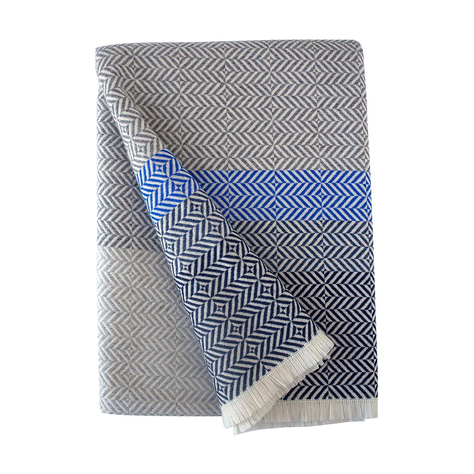 'Uccle' Woven Block Geometric Merino Wool Throw, Indigo/Colbalt Blue/Greys