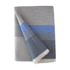 'Uccle' Woven Block Geometric Merino Wool Throw, Indigo/Colbalt Blue/Greys