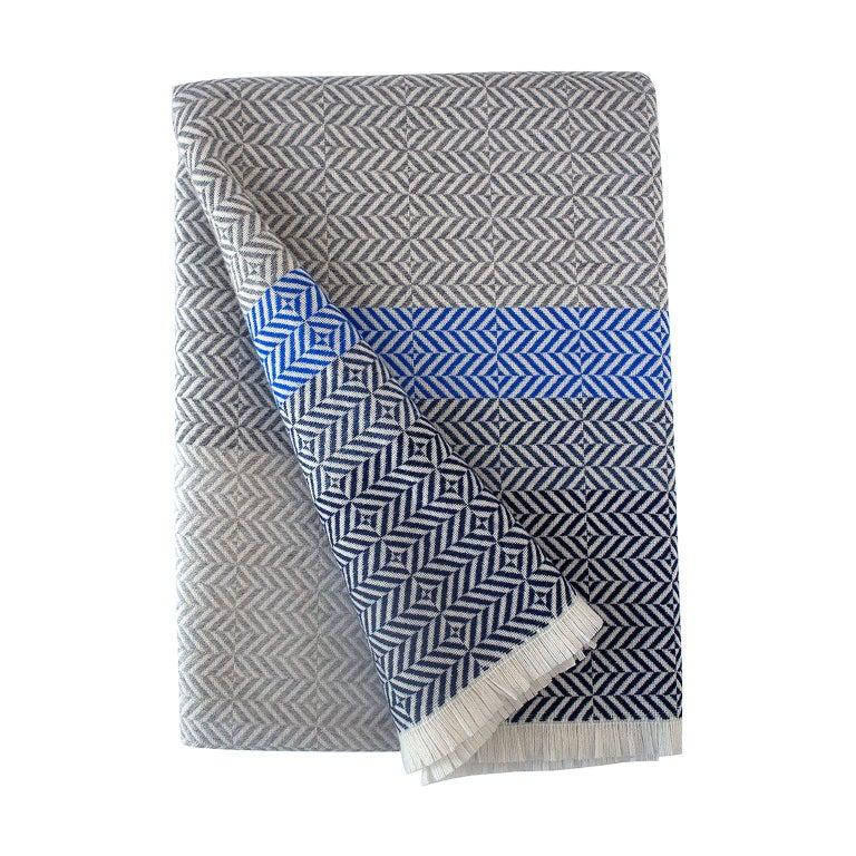 'Uccle' Woven Block Geometric Merino Wool Throw, Indigo/Colbalt Blue/Greys For Sale