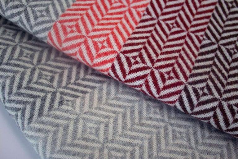 Mid-Century Modern 'Uccle' Woven Block Geometric Merino Wool Throw, Papaya /Pink/Burgundy/Greys For Sale