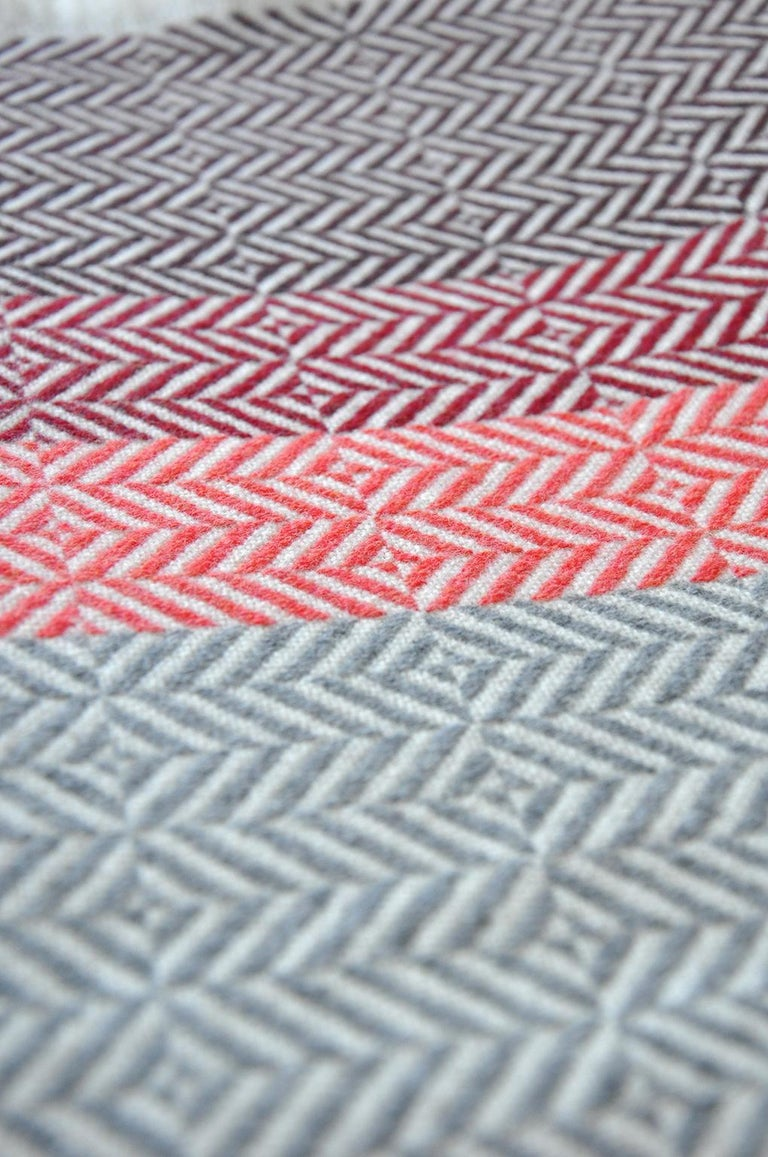 British 'Uccle' Woven Block Geometric Merino Wool Throw, Papaya /Pink/Burgundy/Greys For Sale