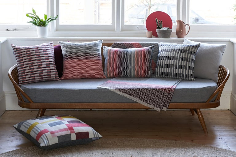 Hand-Woven 'Uccle' Woven Block Geometric Merino Wool Throw, Papaya /Pink/Burgundy/Greys For Sale