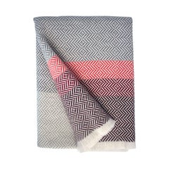 'Uccle' Woven Block Geometric Merino Wool Throw, Papaya /Pink/Burgundy/Greys
